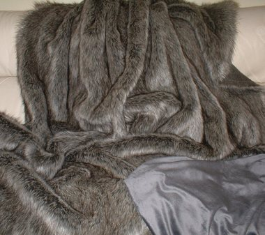 Timber Wolf Faux Fur Throw