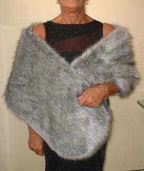 Silver Musquash Faux Fur Stole