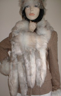 Snow Wolf Faux Fur Tail Scarf