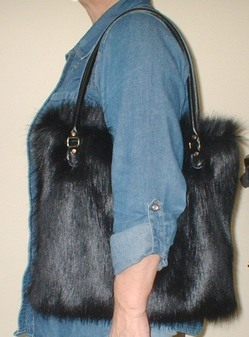 Black Bear Faux Fur Bag
