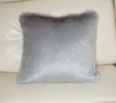 Silver Mink Faux Fur Cushion 41 x41 cm