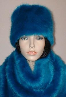 Azure Blue Faux Fur Hat