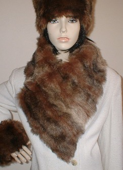 Russian Sable Faux Fur Vintage Asymmetric Scarf