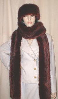 Burgundy Mink Faux Fur Super Long Scarf