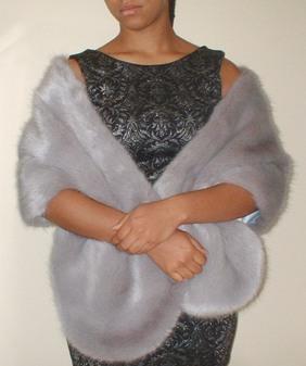 Silver Mink Faux Fur Stole
