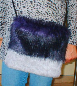 Purple Rain and Silver Lavender Fox Faux Fur Shoulder Bag