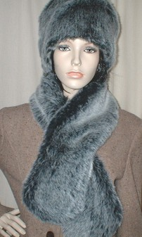 Arctic Wolf Faux Fur Pull Through Scarf