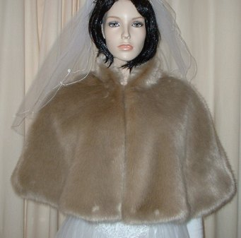 Honey Blonde Faux Fur Wedding Cape