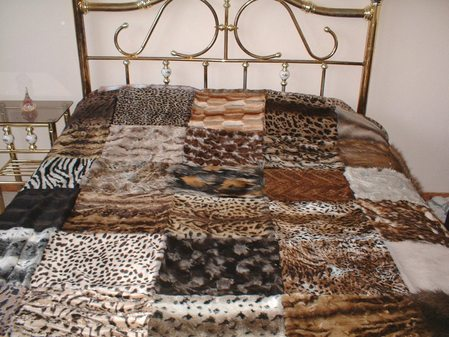 Brown Harlequin Faux Fur Patchwork Throw