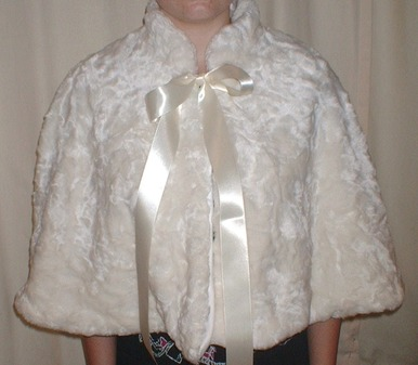 Ivory Astra Faux Fur Cape