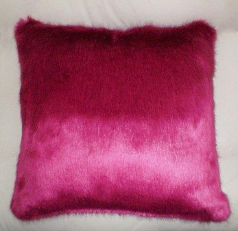Hot Pink Mink Faux Fur Cushion 51x51cm (20 inches)