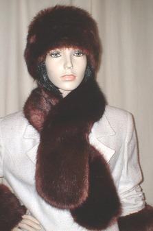 Burgundy Mink Faux Fur Pull Through Scarf