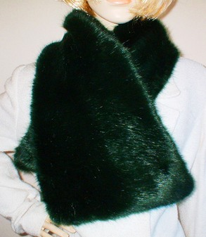 Hunter Green Faux Fur Asymmetric Scarf
