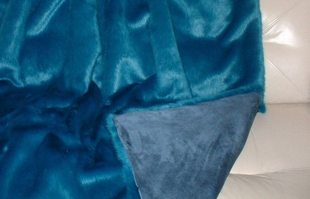 Azure Blue faux Fur Throw