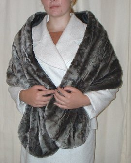 Vintage Silver Astra Faux Fur Stole