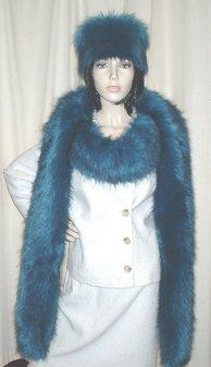 Blue Lagoon Faux Fur Super Long Scarf