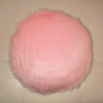 Raspberry Cream Mink Faux Fur Round Cushion