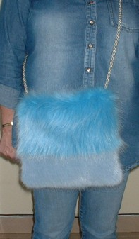 Sky and Powder Blue Faux Fur Shoulder Bag