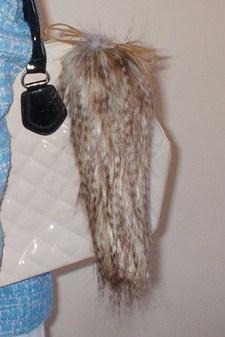 Tundra Wolf Faux Fur Tail Handbag Key Charm