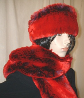Devil Red Faux Fur by Tissavel Swatch