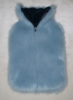 Powder Blue Faux Fur Hot Water Bottle Cover