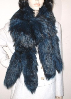 Tissavel Midnight Blue Faux Fur Tail Scarf