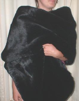 Black Mink Faux Fur Long Stole
