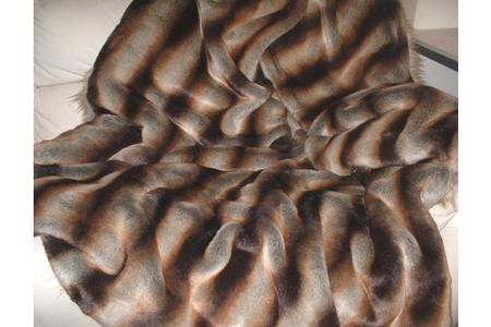 Golden Brown Chinchilla Faux Fur Round Cushion