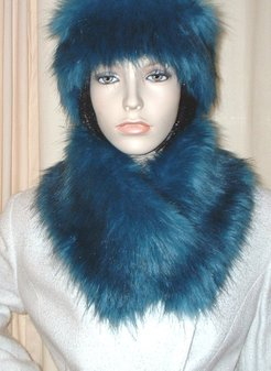 Blue Lagoon Faux Fur Long Collar