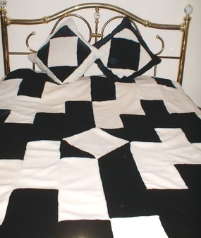 Black & White Harlequin Faux Fur Patchwork Throws