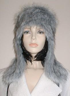 Silver Musquash Faux Fur Trapper Hat