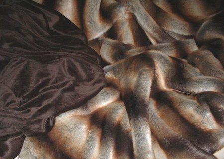 Golden Brown Chinchilla Faux Fur Throw with Chocolate Cuddle Soft Velboa