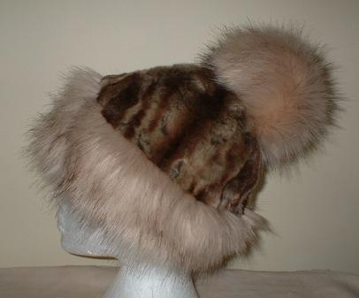 Fawn Musquash Faux Fur Bobble Hat