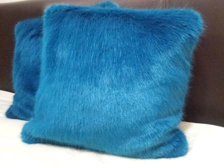 Azure Blue Faux Fur Cushions 51x51cm