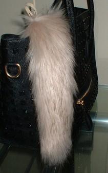 Fawn Musquash Faux Fur Tail Handbag Key Charm