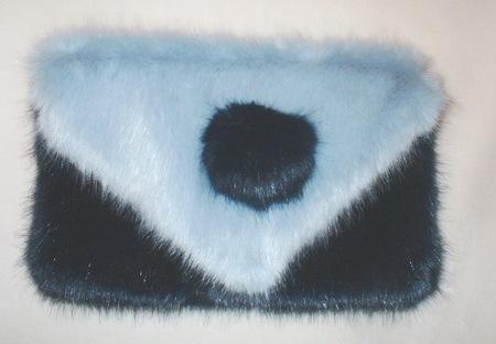 Midnight Navy and Powder Blue Faux Fur Clutch Bag