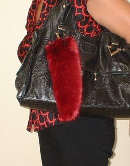 Ruby Red Faux Fur Tail Handbag Key Charm