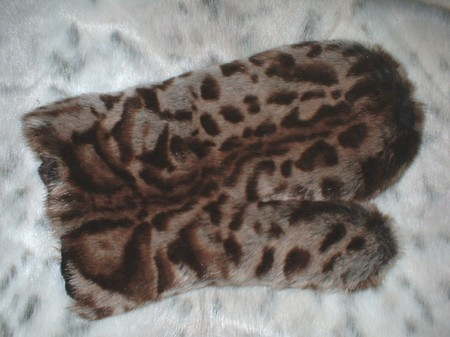 Ocelot Faux Fur Massage Mitt