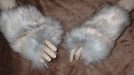 Snow Wolf Faux Fur Fingerless Mittens