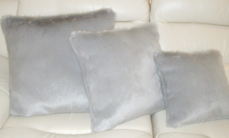 Silver Mink Faux Fur Cushion 51 x 51 cm