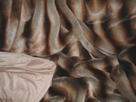 Golden Brown Chinchilla Faux Fur Throw with Latte Cuddle Soft Velboa
