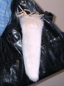 Pink Champagne Faux Fur Tail Handbag Key Charm