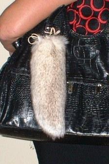 Polar Fox Faux Fur Tail Handbag Key Charm