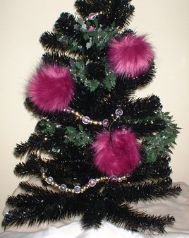 Magenta Faux Fur Baubles