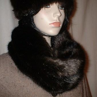 Mahogany Mink Faux Fur Cowl/neck Warmer