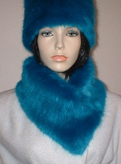 Azure Blue Faux Fur Long Collar