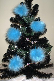 Sky Blue Faux Fur Christmas Baubles