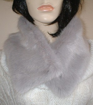 Silver Mink Faux Fur Long Collar
