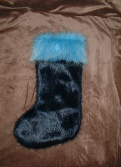 Midnight Navy Blue and Sky Blue Faux Fur Stockings