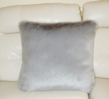 Silver Mink Faux Fur Cushion 61 x 61cm